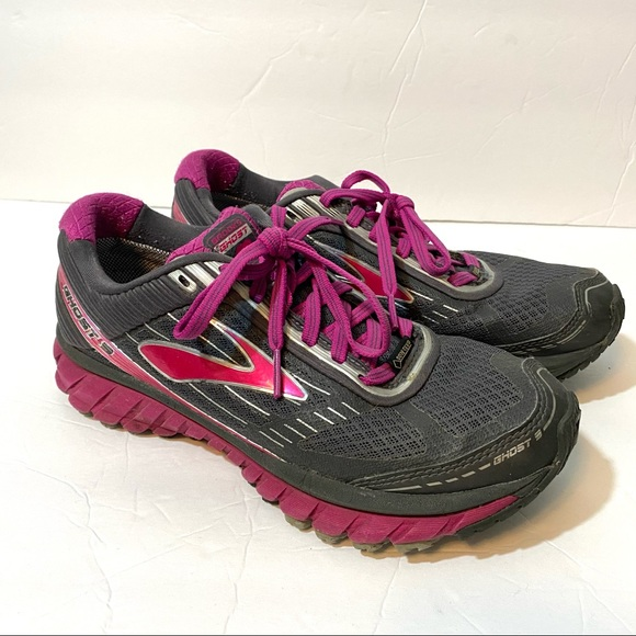 Brooks Ghost Running Shoes Grey Magenta Size 8
